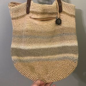 """New Fossil Woven Bag in Neutral Colors 16"""" X 14"""""""